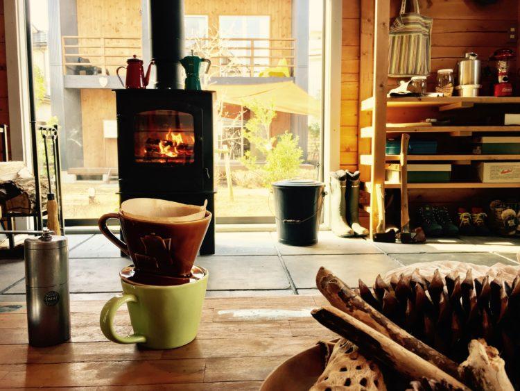 薪ストーブとコーヒー