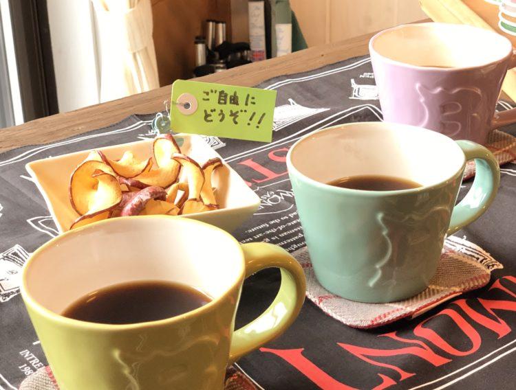 コーヒーを飲みながら薪ストーブを使った干しりんごはいかがでしょうか
